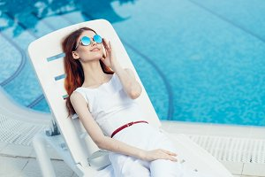 Woman at the pool