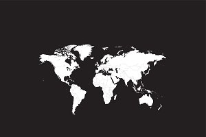World map white with borders flat