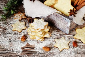 Christmas or new year gingerbread cookies in a wooden box