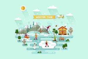 Winter Entertainment Vector