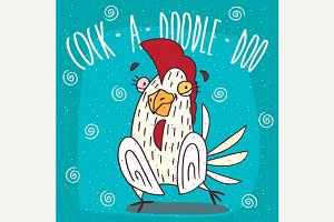 Cartoon stupid white cock or rooster