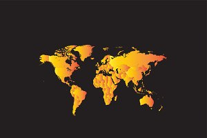 World map summer hot yellow