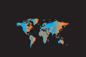 World map metallic night blue