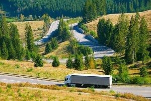 Truck on the mountain road.Romania