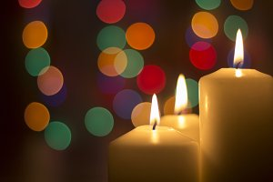 Candles and bokeh lights