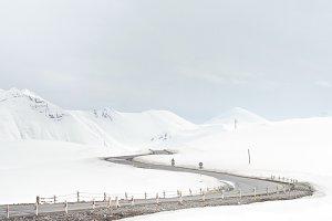 Empty winter mountain road