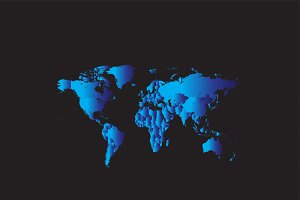 World map metallic blue color