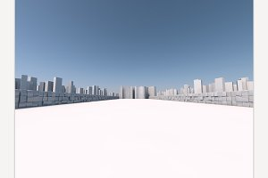 Skyscrapers in the city 3D rendering