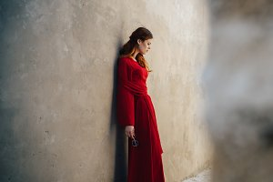 woman red dress