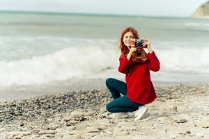 Red-haired girl the photographer