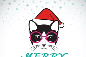 Merry christmas greeting cat card.