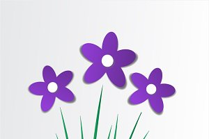 Purple flower vector with grass