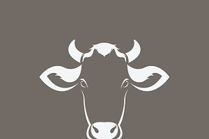 Vector of a cow head design.