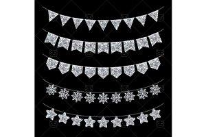 Silver garlands on black