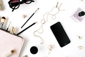 Trendy feminine workspace