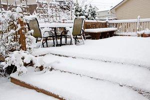 Snow on garden patio