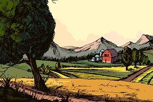 Farm Landscape , Hand Drawn