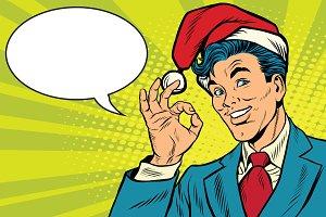 Christmas businessman OK gesture