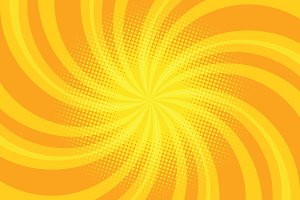 Yellow spiral pop art background