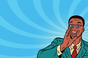 Pop art promo businessman in glasses