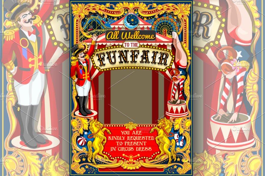 Circus Funfair Carnival Poster Theme Illustrations