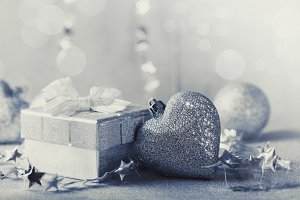 Christmas silver present box and heart bauble