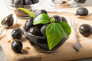 Black olives in glass cups