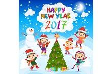 Happy New Year 2017 kids vector fun