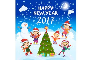 Happy New Year 2017 kids fun vector