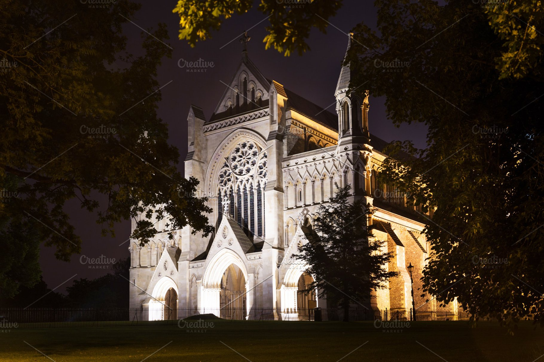St Albans abbey church illumination England UK