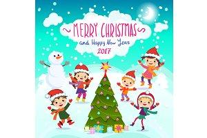 Merry Christmas card in vector fun