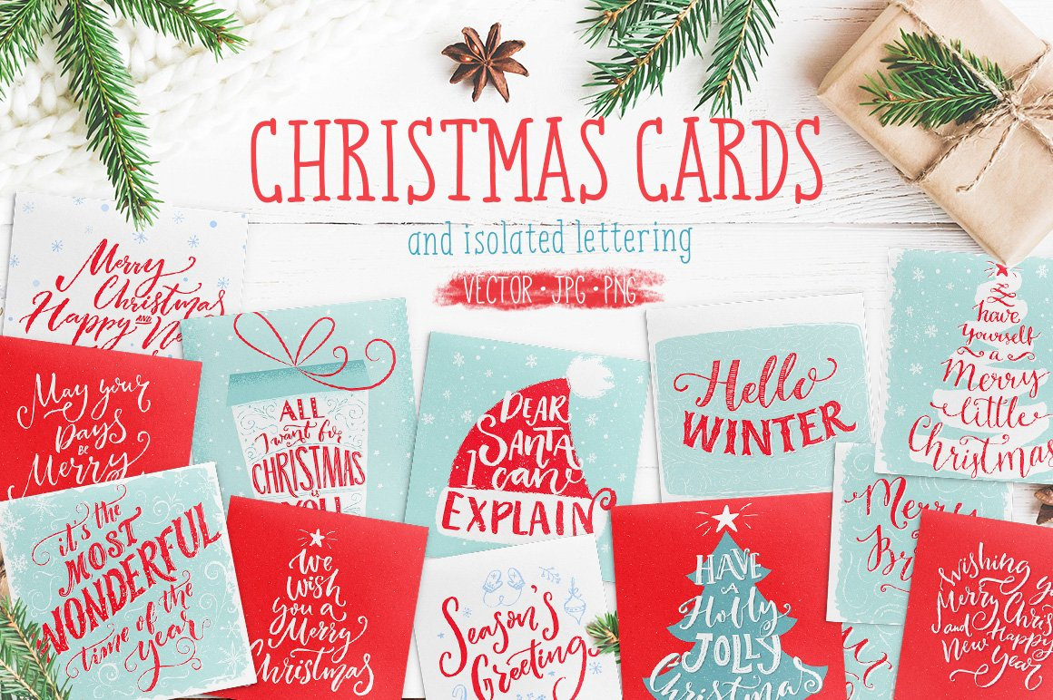 Christmas Cards With Hand Lettering Illustrations Creative Market