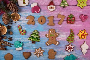 Gingerbreads for new 2017 years