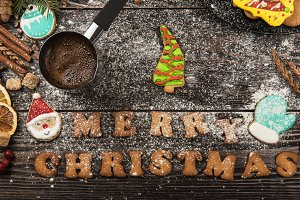 Gingerbreads and coffee for new years or christmas