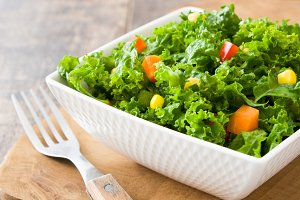 Kale salad and vegetables