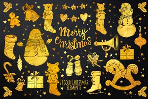 Christmas gold elements.