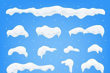 Snow caps, snowballs set with snow.