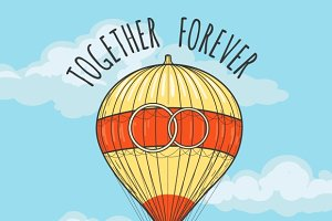 Wedding Card with hot air balloon