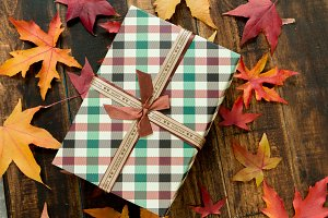 A gift with fall leaves