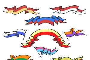 Cartoon colorful ribbons set