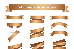 Bronze ribbon banners set. Tapes.