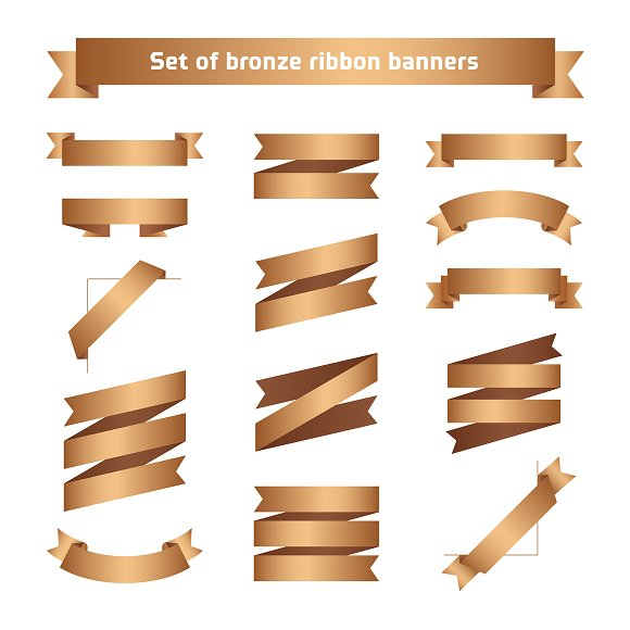 Bronze ribbon banners set. Tapes. - Objects