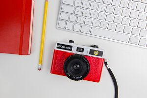 Red Retro Camera on Desktop