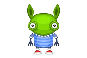 Funny Cartoon Green Alien