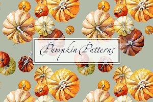 Pattern watercolor Pumpkin