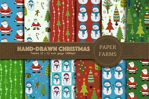 Hand-drawn Christmas digital paper