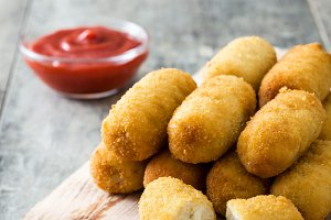 Traditional fried Spanish croquettes