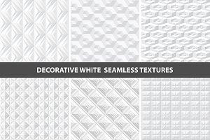 White geometric 3d seamless textures