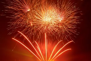 Beautiful red fireworks