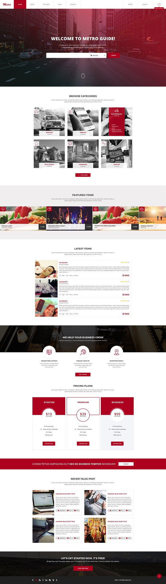 Metro Directory Listing PSD Template